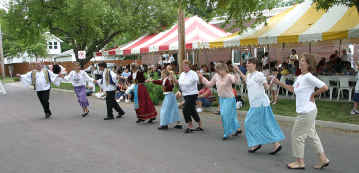 Greek dancing at food fair