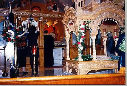 Good Friday, April, 1998. Decorating the kouvouklion and church interior